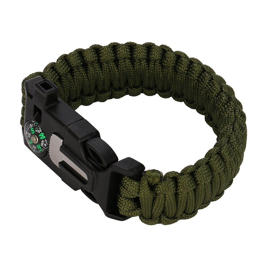 Glumes Survival Bracelet, Survival Paracord Bracelet, Survival Gear Kit with Gear Kits, Emergency Knife, Whistle, Compass, Fire Starter for Camping, Climbing, Waterproof (Green)