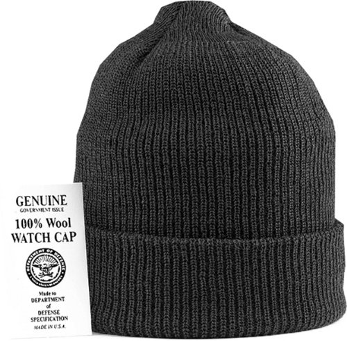 Navy Wool Watch Cap - Black Genuine GI US Navy 100% Wool Watch Cap (USA Made)