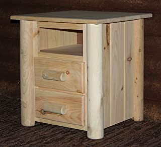product image for Lakeland Mills Frontier Nightstand w 2 Drawers, Light Honey Gold