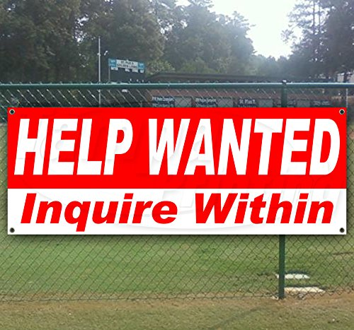Help Wanted 13 oz Heavy Duty Vinyl Banner Sign with Metal Grommets, New, Store, Advertising, Flag, (Many Sizes Available) ()