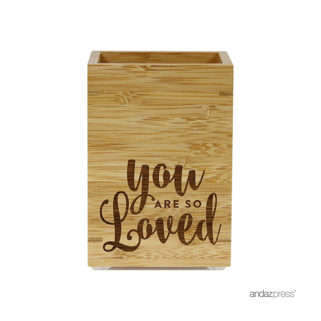 Andaz Press Engraved Bathroom Toothbrush Holder, You Are So Loved, 1-Pack, Bamboo Wooden Kids Christmas Gift