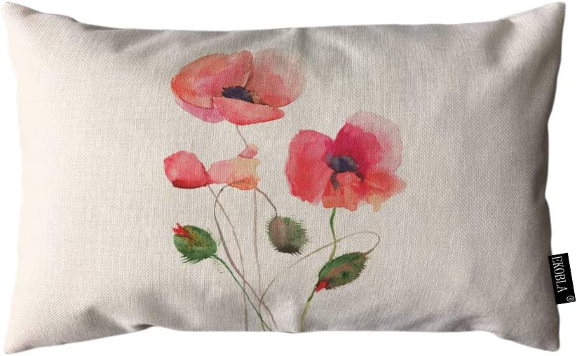 EKOBLA Throw Pillow Cover Red Poppy Flowers Watercolor Floral Hand Drawn Painted Charming Blossom Nature Rectangular Throw Pillow Covers for Couch Sofa Home Decor Cotton Linen 12x20 Inch