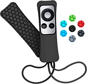 Sahiyeah Case Compatible for Apple TV Remote Case Light Weight Anti Slip Waterproof Shockproof Silicone Protective Case Cover for Apple TV 2 3 Remote Controller,Black