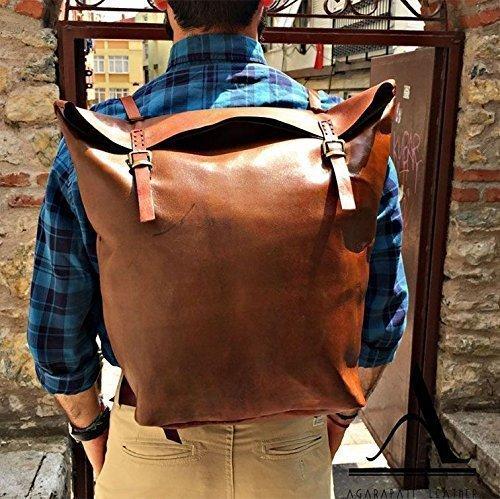 Brown Leather Handmade Backpack