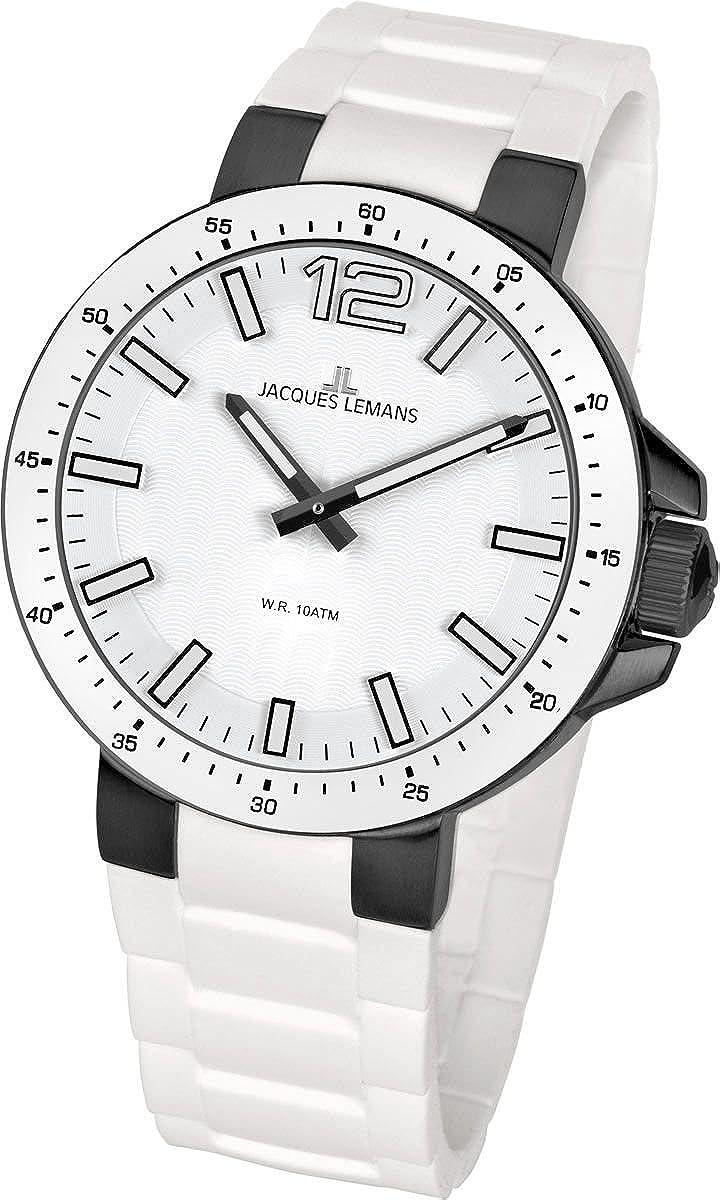 Jacques Lemans Milano 1-1709P - Reloj analógico de Cuarzo Unisex, Correa de Silicona Color Blanco