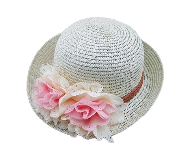 Sombrero de paja para bebés Sombrero de niña plegable de verano Flores Gorro  de playa Sombrero de sol para niños  Amazon.es  Ropa y accesorios 2ef0b8aea58