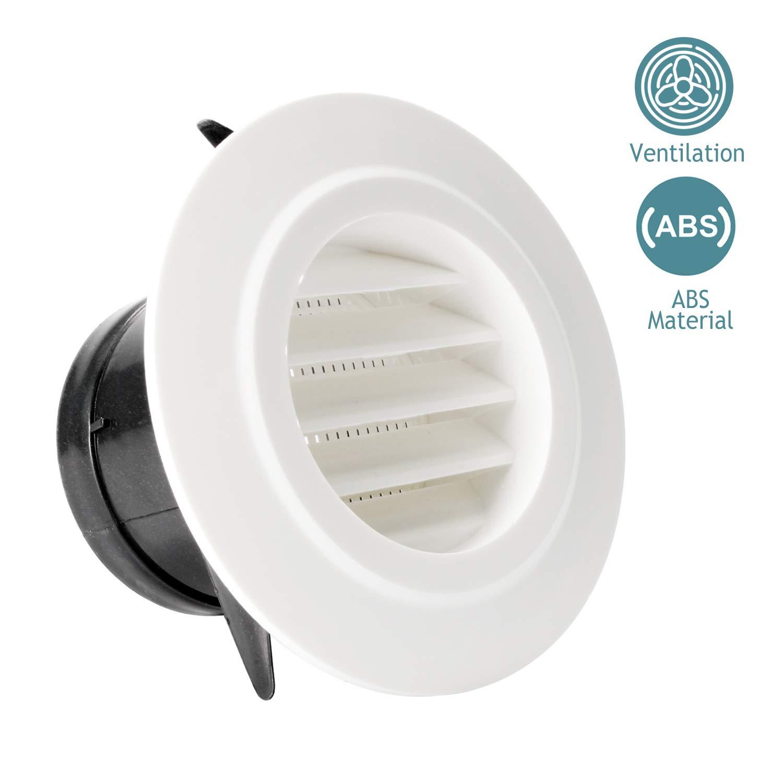 Bouche de Ventilation HG POWER 5 Grille de Ventilation Ronde ABS avec Anti Insectes Grille de Protection pour Conduits /ø125mm