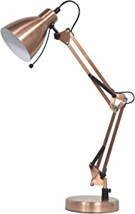 YDL Swing Arm Antique Brass Desk Lamp with Clamp, Task Lamp with On/Off Switch for Home Office Reading,Bulb Included (Antique Copper)