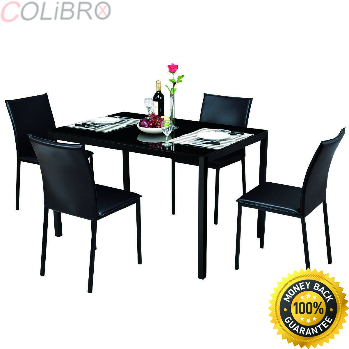 Colibrox 5 piece dining set glass top table and 4 pu chairs kitchen breakfast furniture glass top dining table set 4 chairs rectangular glass dining