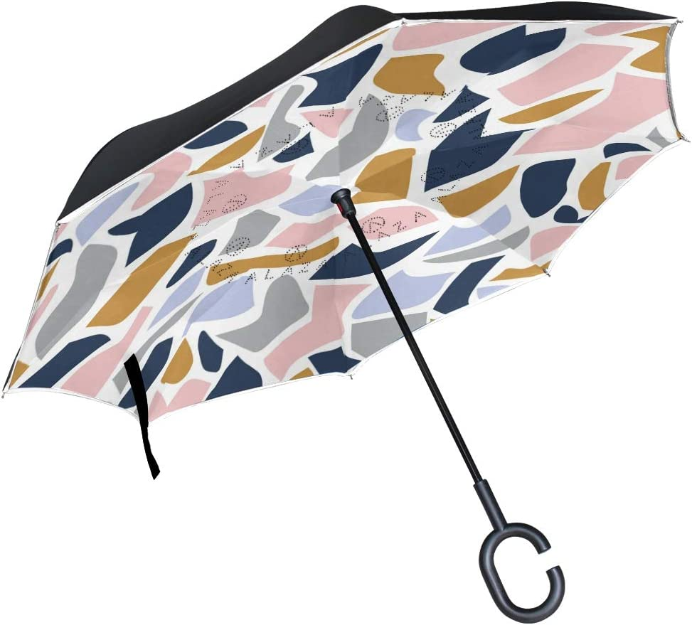 ATONO Abstract Geometric Shapes Terrazzo Texture Scandinavian Color Double Layer Inverted Reverse Folding Stick Umbrellas Windproof Anti-UV C-Shaped Handle for Car Rain Outdoor