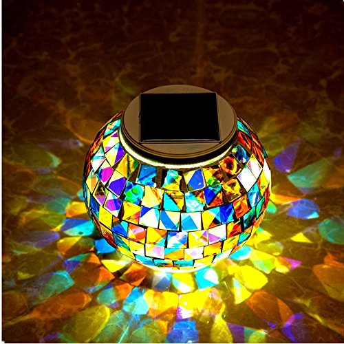 ZLZH Lights LED Color Changing Solar Table Lights Mosaic Glass Ball Solar Outdoor Garden Lights Solar Night Lights Waterproof for Home Yard Patio Christmas - Get Tightened Glasses