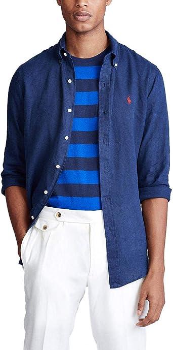 Camisa Ralph Lauren Dye Linen Marino Hombre M: Amazon.es: Ropa y accesorios