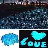 StillCool 100 Man-made Glow in the Dark Pebbles Stone for Garden Walkway (Sky Blue)