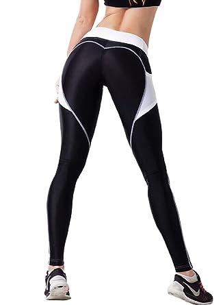 2b83237b6a5b11 ACG Women's Fashion Stretchy Heart Shaped Color Block Yoga Pants Leggings,  ...