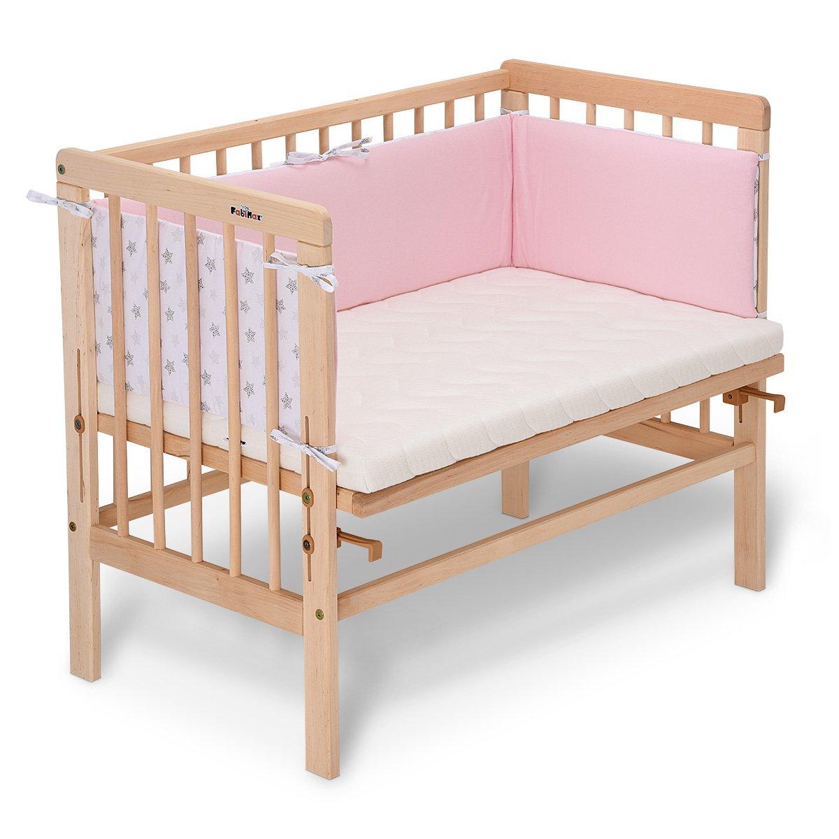 Matratze CLASSIC und Nestchen Sterne klein inkl FabiMax 3839 Beistellbett BASIC natur rosa
