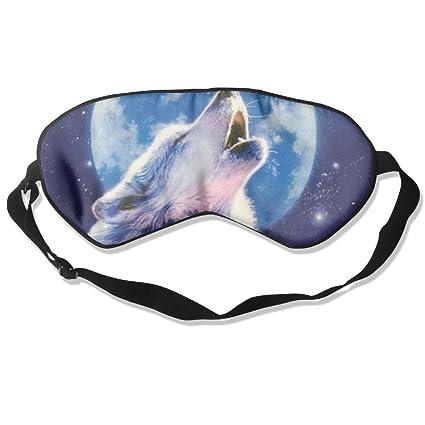 HOJIKD - Máscara de Dormir y persiana de Seda de Morera – Lobo con Luna Cómoda