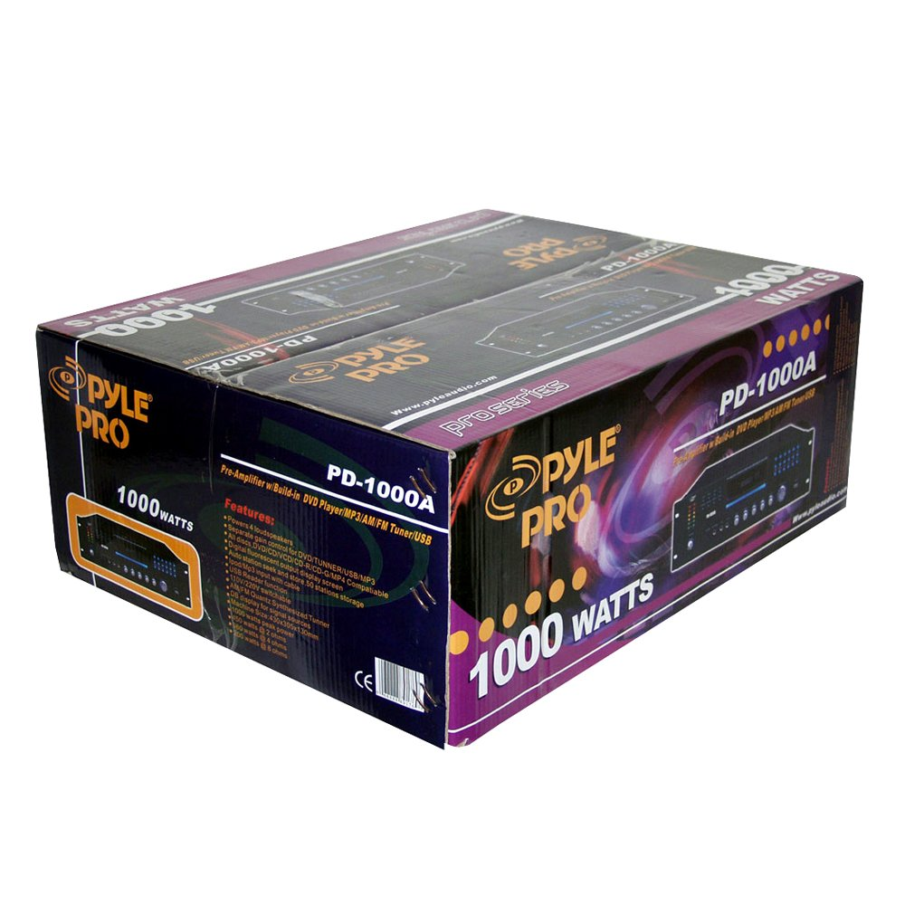 Pyle Home Theater Preamplifier Receiver, Audio/Video System, CD/DVD Player, AM/FM Radio, MP3/USB Reader, 1000 Watt
