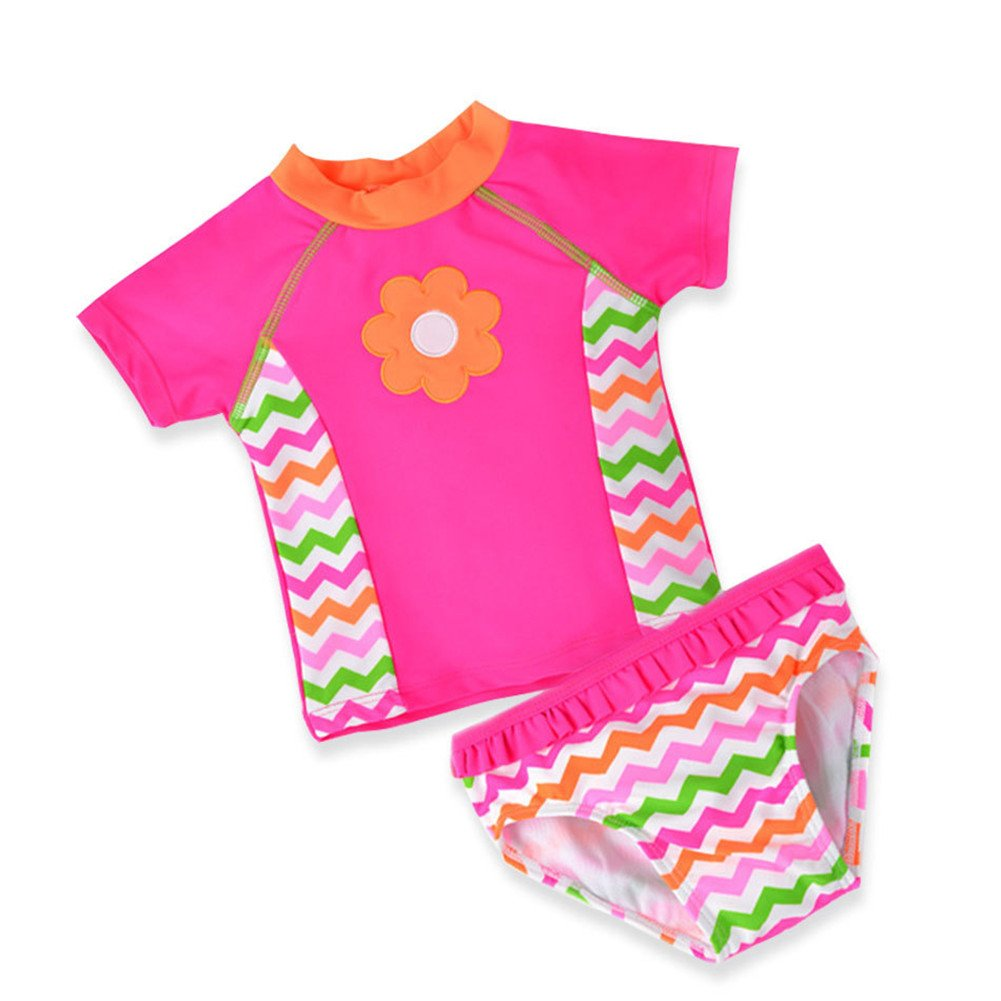 LOSORN ZPY Baby Toddler Girl Swimsuit Set Kid Girl Two Pieces Swimwear Rash Guard LZ-TYY-44