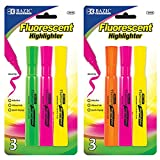BAZIC Desk Style Fluorescent Highlighters (4/Pack), Case Pack of 144