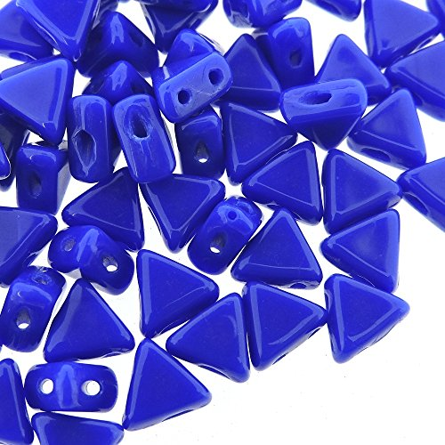 Czech Kheops Puca Beads 6mm Two-hole Flat Triangle Beads 9 Grams - Opaque Sapphire Blue