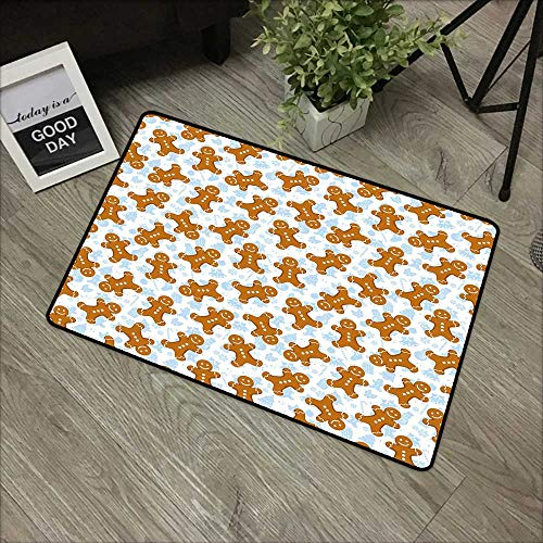 Hall mat W31 x L47 INCH Gingerbread Man,Traditional Christmas Icons Cookie Pattern Festive Tile,Light Caramel Baby Blue White Non-Slip, with Non-Slip Backing,Non-Slip Door Mat - Cheer Adhesive Christmas
