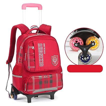 Dfghbn Mochila para niños Mochila de 3 Ruedas Trolley Mochila para niñas con Carro Ajustable Escaleras