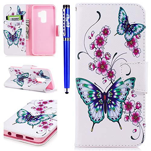 EUWLY Samsung Galaxy S9 Plus Leather Wallet Case,Samsung Galaxy S9 Plus Protective Case [Cash and Card Slots],Beautiful 3D Colorful Pattern Elegant Retro Pattern Pu Leather Case Book Wallet Flip Cover Peach Butterfly