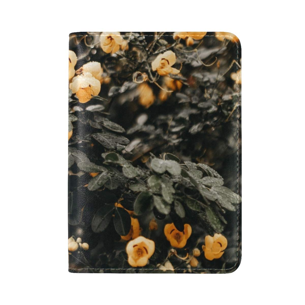 Flowers Yellow Bush Leather Passport Holder Cover Case Travel One Pocket