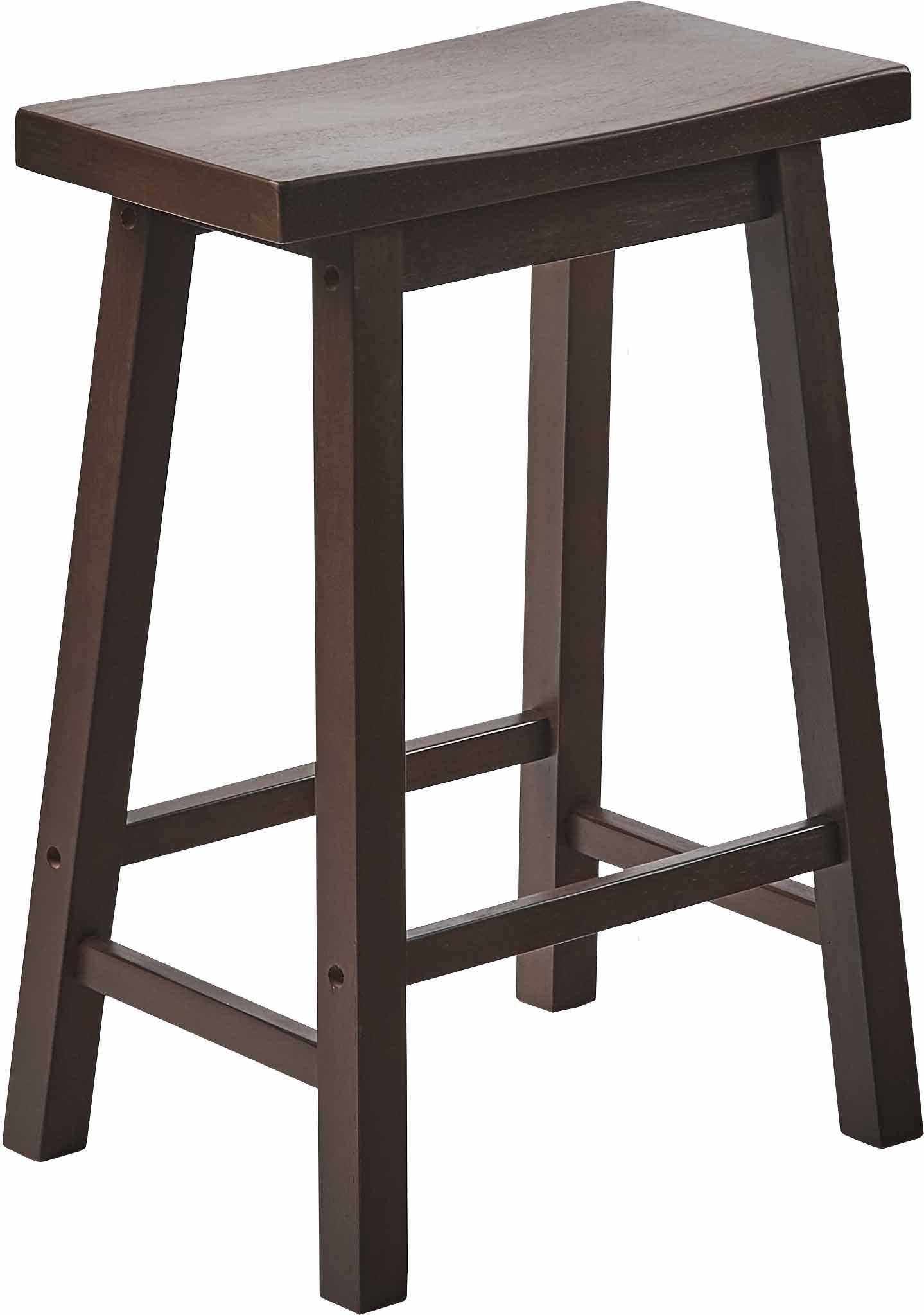 PJ Wood 24-Inch Saddle Seat Counter Stool - Walnut Finish Rubberwood