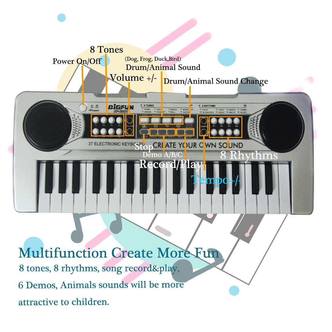 37 Keys Standard Size Multi-Function Electronic Organ Musical Kids Piano Teaching Keyboard for Kids Children Birthday FillADream Kids Piano