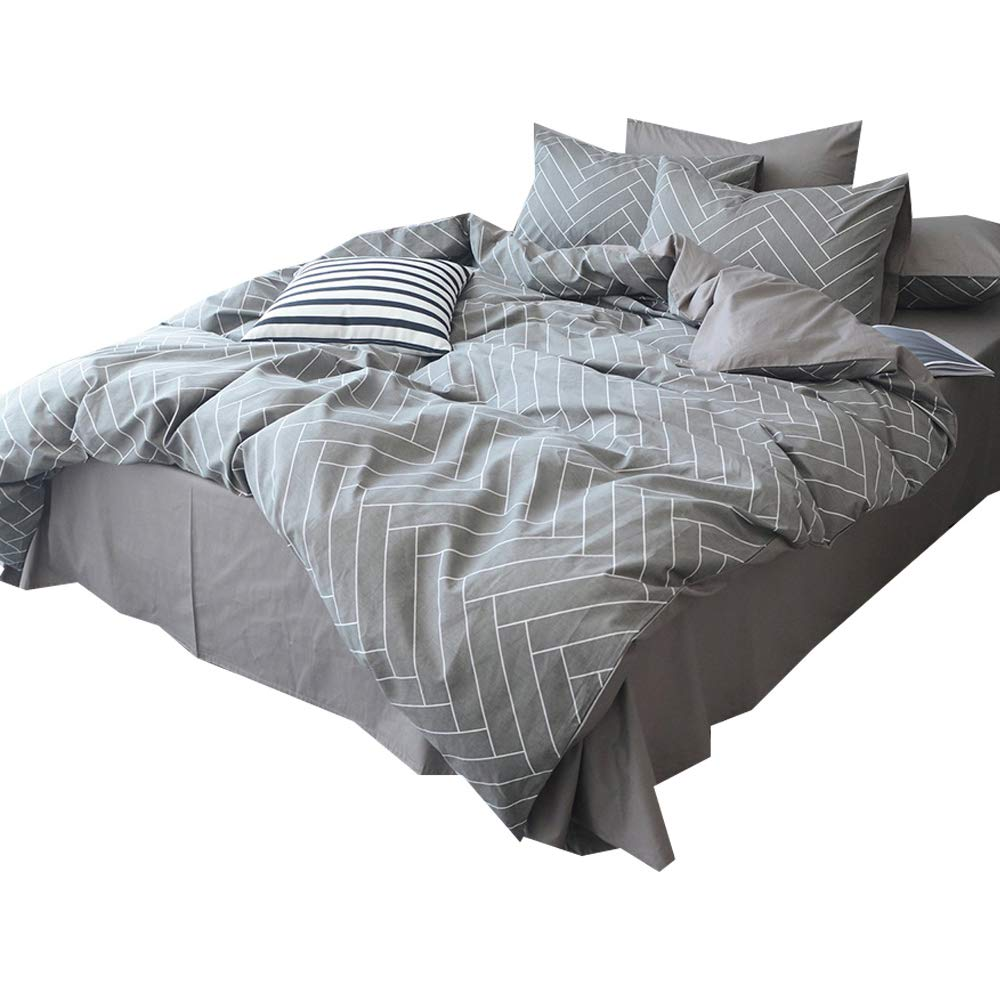 AMWAN Grey Striped Duvet Cover Set Queen Reversible Luxury Bedding Set Cotton 3 Piece Geometric Duvet Cover Set Full Hotel Quality Men Boys Bedding Collection Set with Zipper Closure and Corner Ties