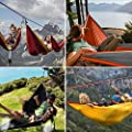 Double Parachute Hammock, Noza Tec Portable Lightweight Nylon Fabric Camping Hammock for Backpacking, Travel, Beach, Yard. Straps Included