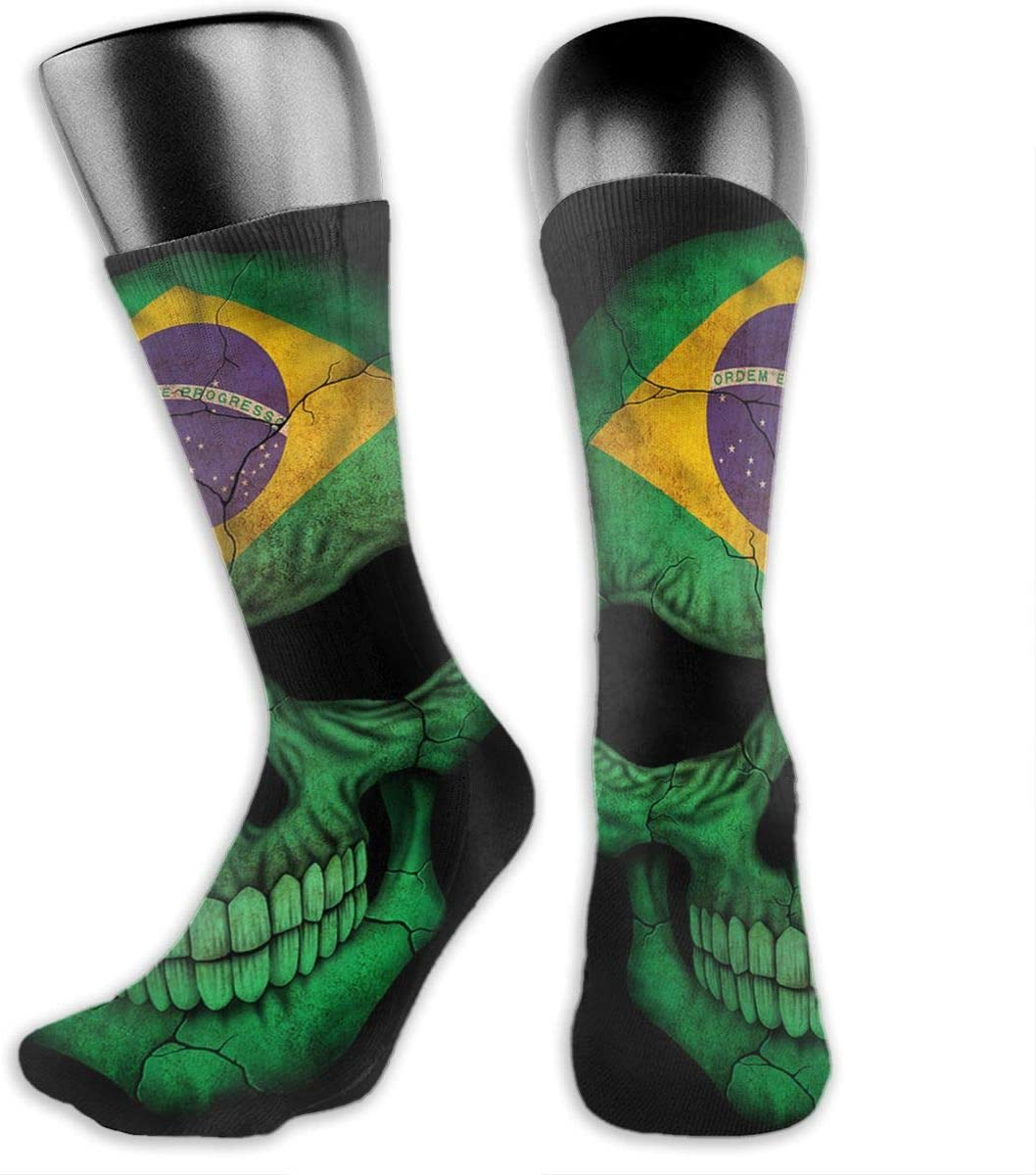 OLGCZM Brazilian Flag Skull Men Womens Thin High Ankle Casual Socks Fit Outdoor Hiking Trail