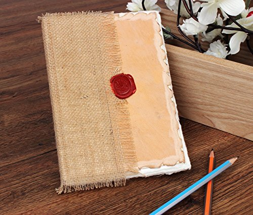 Leather Jute Diary Journal Unique Record Notebook with Handmade Cotton Paper (8 x 5.5 inches)