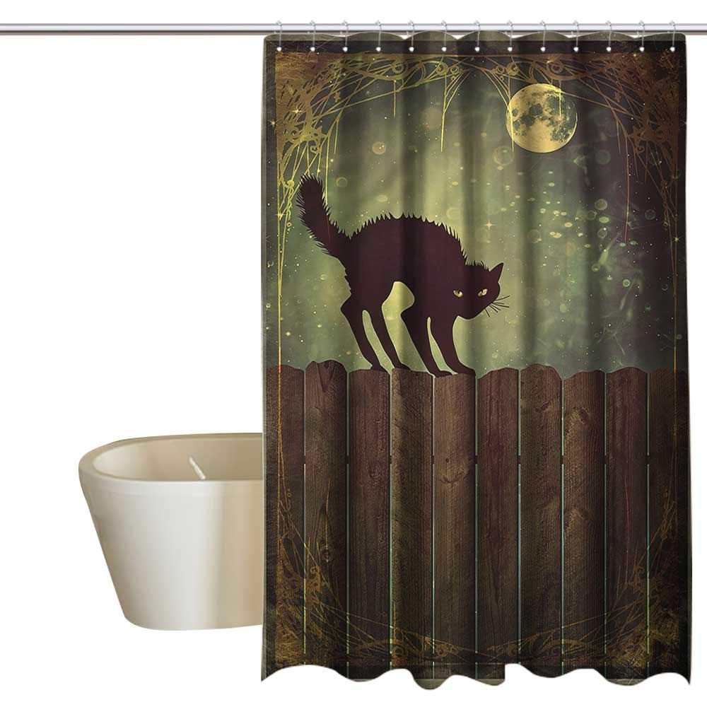 Denruny Shower Curtains for Bathroom Fabric Halloween,Angry Cat on Wood Fences,W108 x L72,Shower Curtain for Shower stall