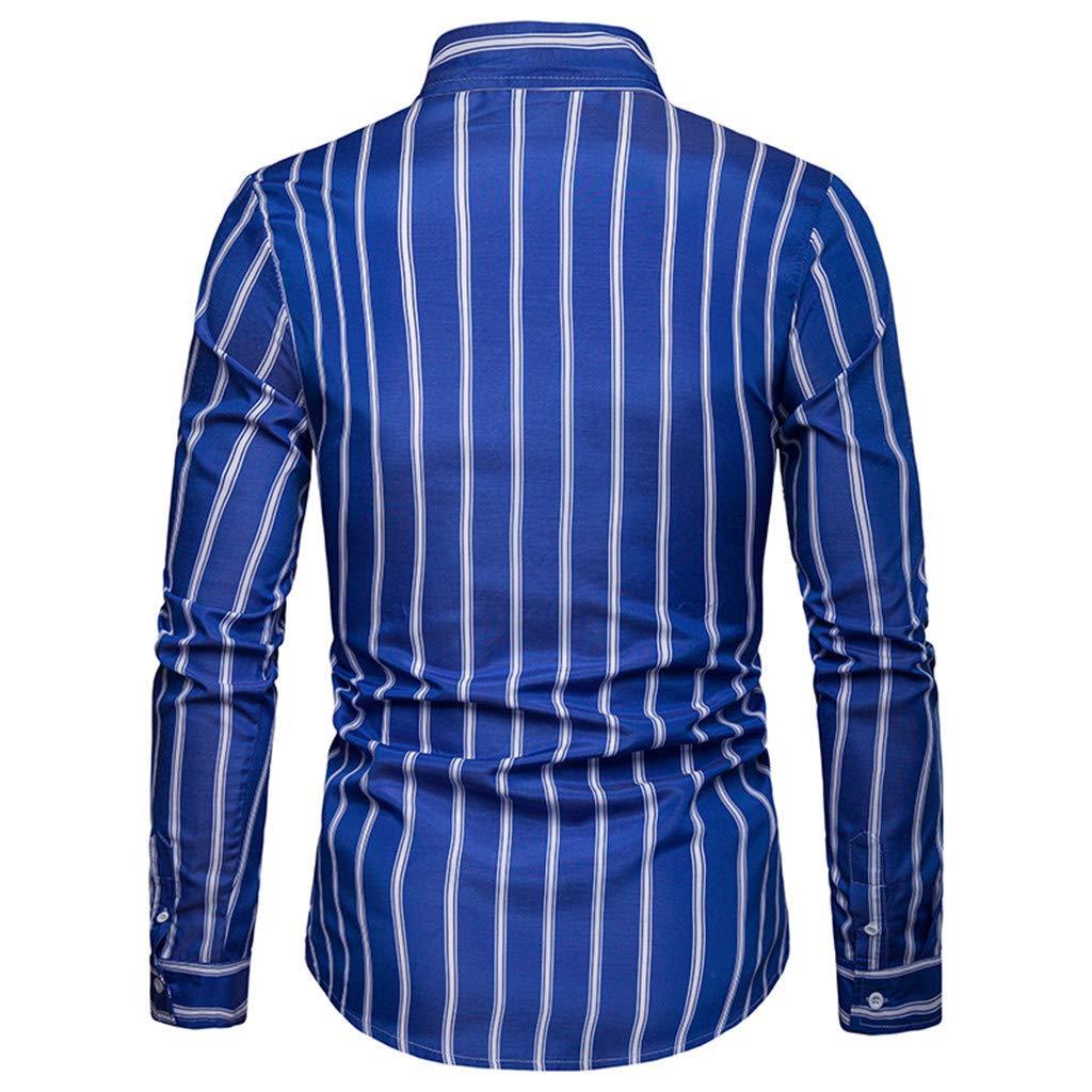 Blusa de Hombre BaZhaHei Rayas Manga Larga Hombre Rayas Pintura Grande  Tama ñ o Camisas 5d45090d8c4