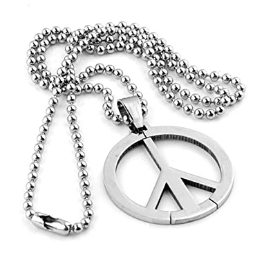 Piercingj mens stainless steel world peace symbol pendant necklace piercingj mens stainless steel world peace symbol pendant necklace with 19quot bead chain aloadofball Image collections