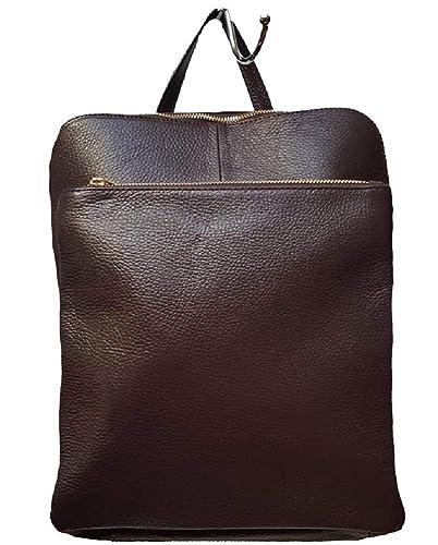 Bottega Carele - Bolso mochila de Cuero para mujer Marrón Size: L: Amazon.es: Zapatos y complementos