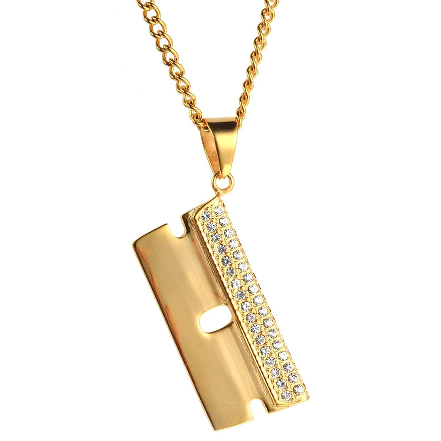 PAURO Men's Stainless Steel Gold Plated Hip Hop CZ Razor Blade Pendant Necklace with Cubic Zirconia