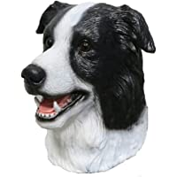 Latex Animal Dog Head Mask, Border Collie Dog Mask Halloween Costume Super Bowl Underdog Party