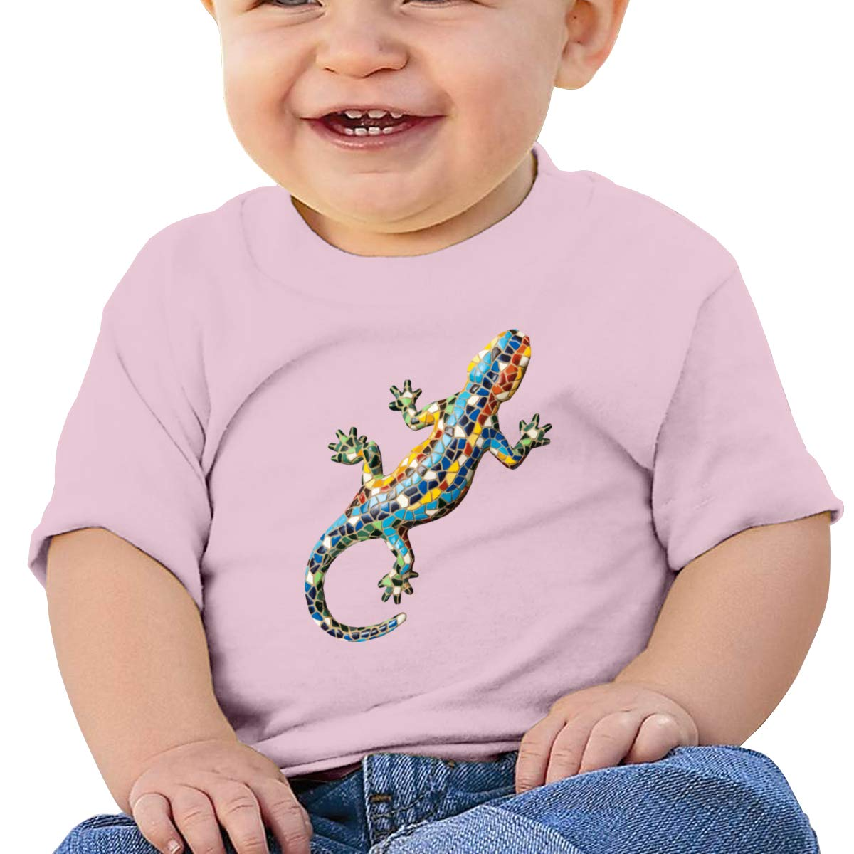 Funny Colorful Gecko Short Sleeve T Shirt Baby Boy Toddlers