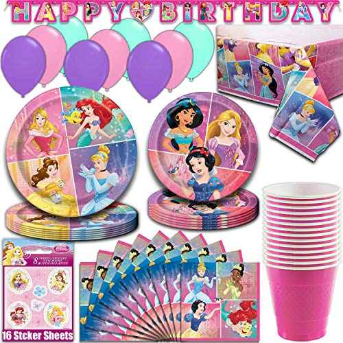 Disney Princess Party Supplies, Serves 16 - Dinner Plates, Dessert Plates, Napkins, Tablecloth, Cups, Balloons, Birthday Banner, Stickers - Full Tableware, Decorations, Favors