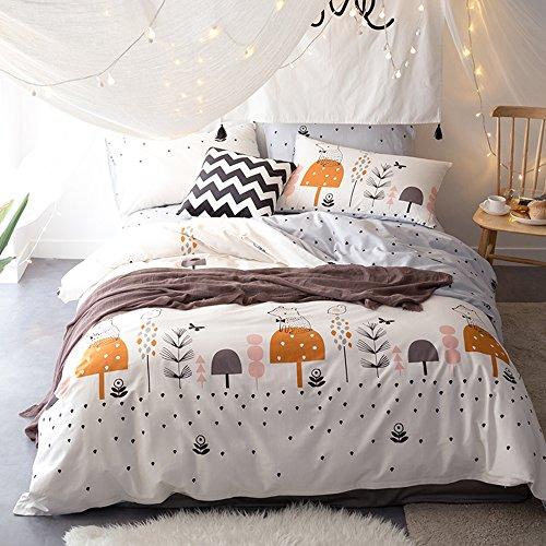 HIGHBUY 100% Wash Cotton Kids Bedding Set Full Grey with Squ