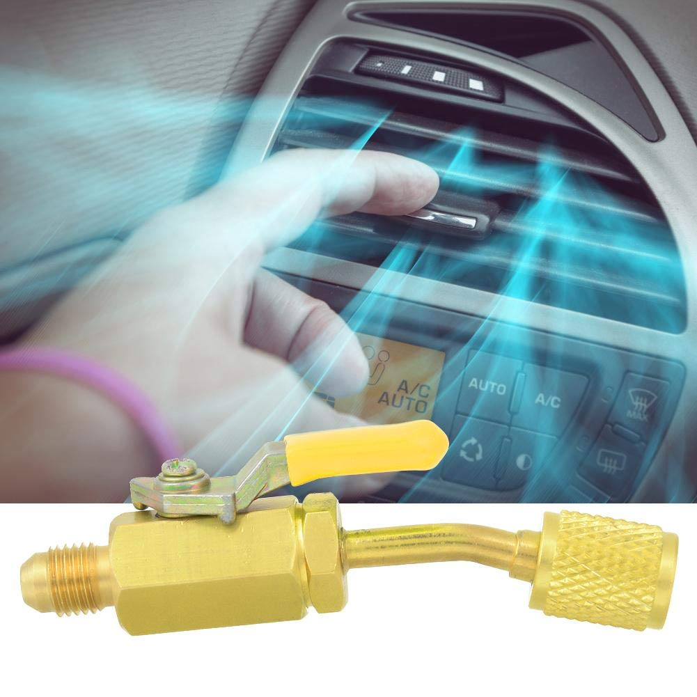 Manual arc Closing Valve Brass Ball Valve for car Cooling Equipment air conditioners Manual Closing Ball Valve Yellow 1//4 in