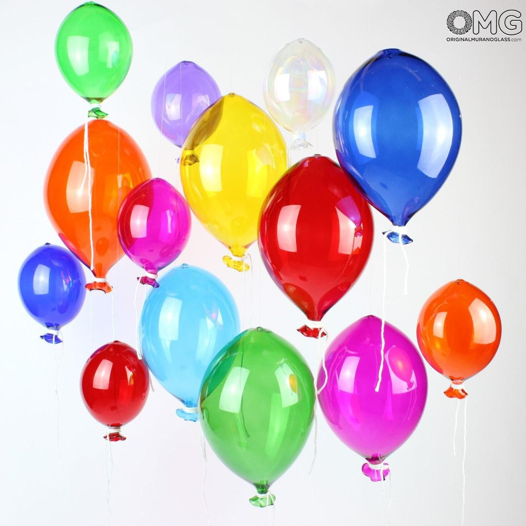 Set of 5 Pieces of Original Murano Glass Balloons in Mixed Colors (15 x 15cm) by ORIGINAL MURANO GLASS OMG