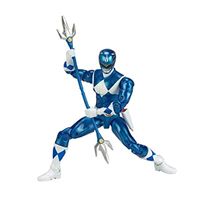 Mighty Morphin Power Rangers Legacy Collection Limited Edition 6.5 Inch Blue Ranger with Metallic Finish and Exclusive Weapons: Toys & Games