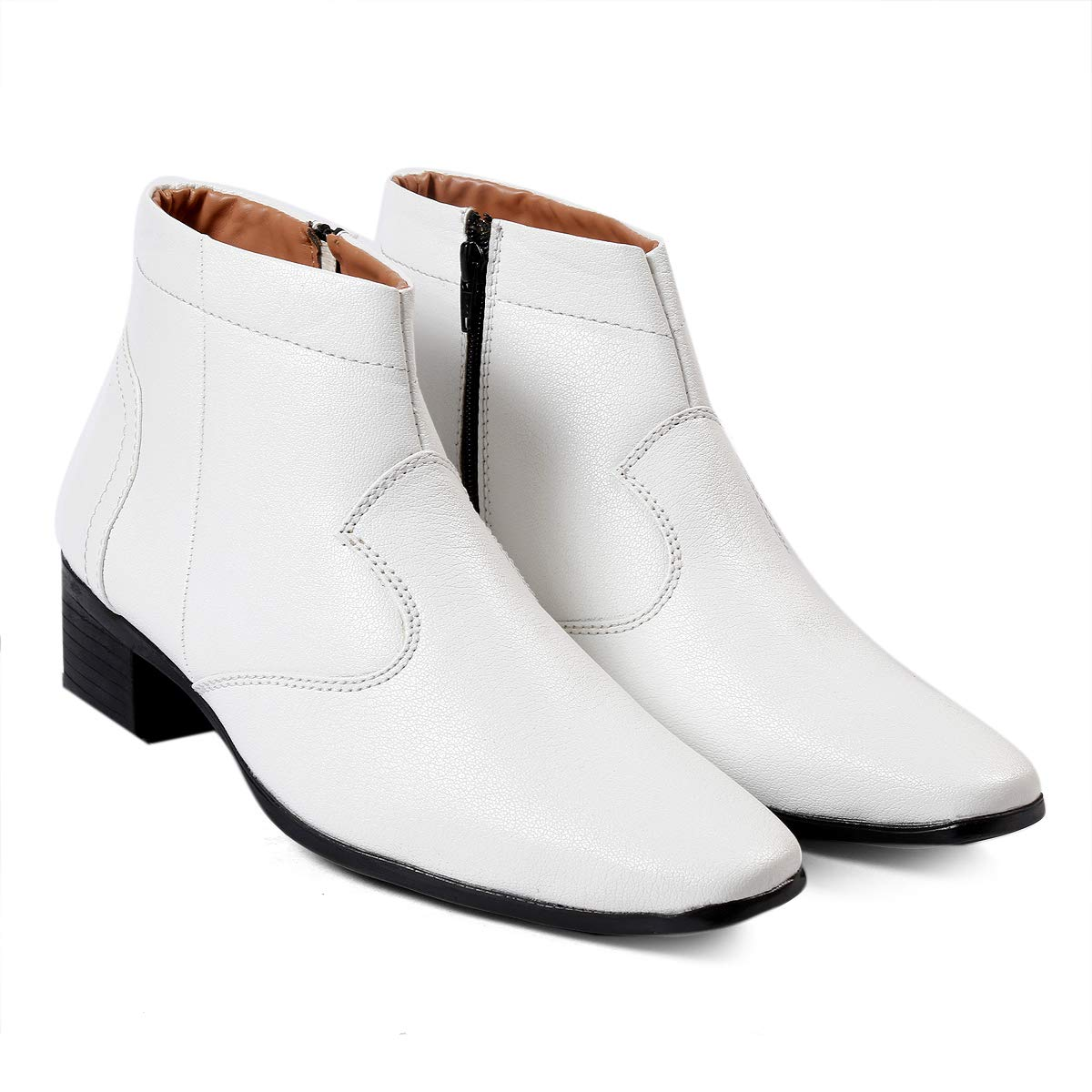 BXXY Mens White Faux Leather Height