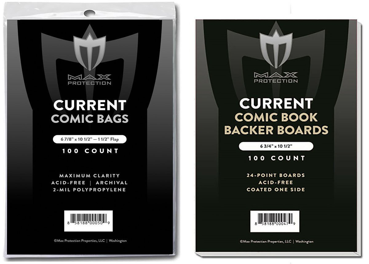 (1000) Current Size Ultra Clear Comic Book Bags and Boards - by Max Pro (Qty= 1000 Bags and 1000 Boards) by Max Protection