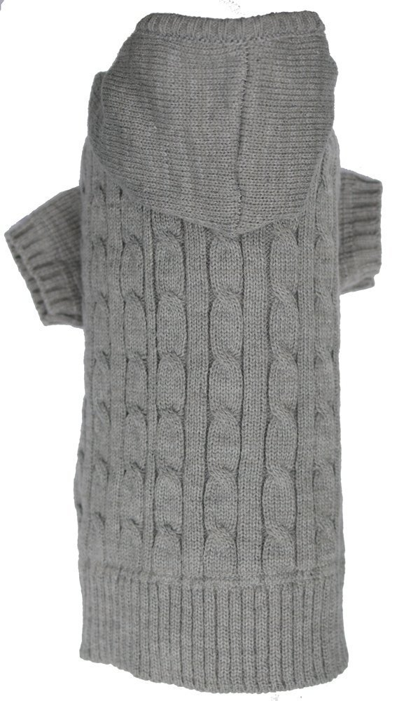 Lanyar Cable Pet Sweater Hoodie for Dogs, X-Large, Gray