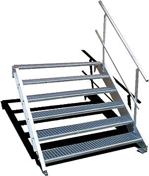 Stahltreppe Industrietreppe Aussentreppe Treppe 5 Stufen-Breite 80cm Variable Geschossh/öhe 70-105cm mit einseitigem Gel/änder